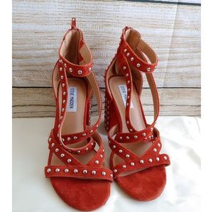 Red Rust Fara Studded Block Heel Sandals -Lyst